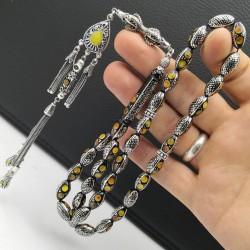 Kehribar ve gümüş işlemeli siyah kuka tesbih